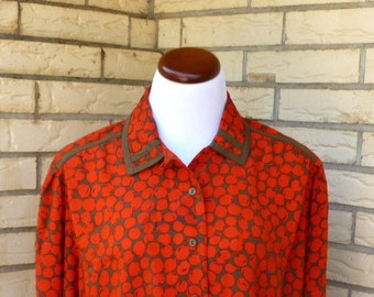 1980s Howard Wolf Cherry Print Career Blouse Red Brown Button Front Silky Womens Vintage Medium SALE