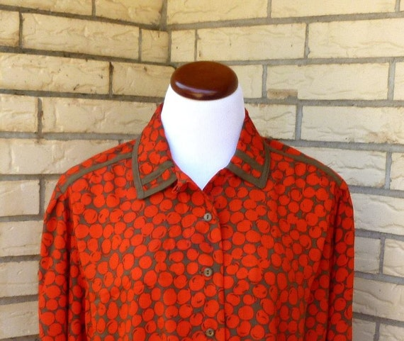 1980s Howard Wolf Cherry Print Career Blouse Red Brown Button Front Silky Womens Vintage Medium