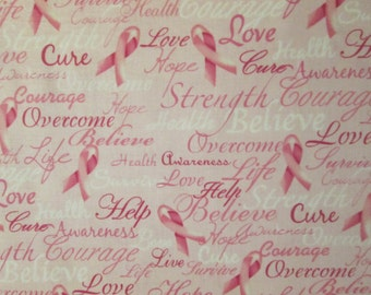 Breast Cancer Pink Ribbons Inspirational Words Cotton Fabric Fat Quarter or Custom Listing