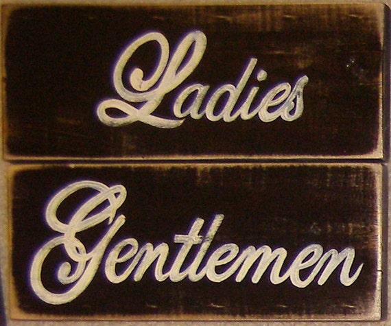 Ladies Gentlemen Set Of 2 Bathroom Restroom By Shabbysignshoppe