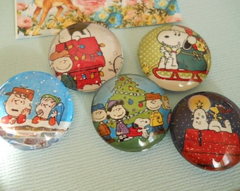 Snoopy christmas Magnets Snoopy Christmas Holiday charlie brown Magnet Snoopy tag peanut favor set of 5