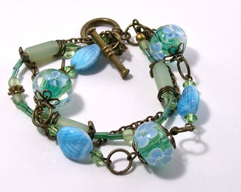 Blue and Green Swarovski lampworked Glass Bracelet
