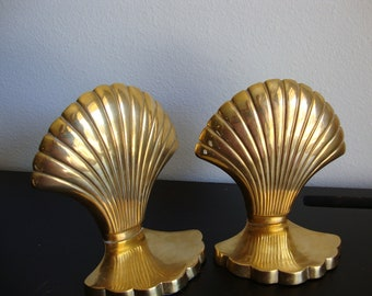 Brass Book Ends* Brass  Shell Bookends