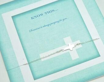 Dainty Side Cross Bracelet with Card