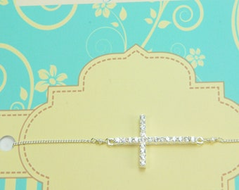 Weddings, Side Cross Bracelet, Bridesmaid Gifts and Favors, Bridesmaid Bracelets