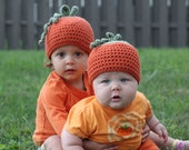 Pumpkin Hat, size 3-6 months.  Custom order for Courtney Driscoll