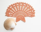 Doily // Crocheted Applique // Peach // Gift for the home // Cottage Decor // Shabby Chic // Wall Decor