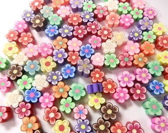 100 8mm Fimo Polymer Clay Flower Shaped Beads Variety Assorted Colors Flowers