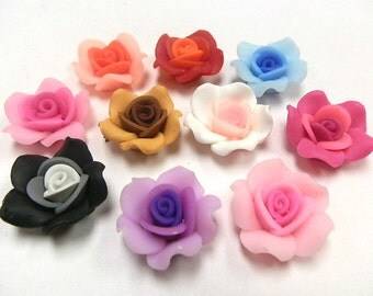 New 50 25mm Fimo Flower Rose Beads Red Pink Brown Black White assorted colors