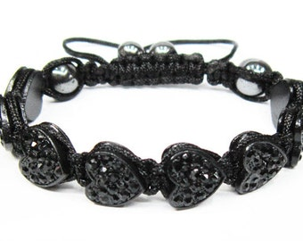 New Handmade Shamballa Black Heart Crystal Bracelet