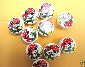 20 Ceramic Skull Red Pirate Round Beads
