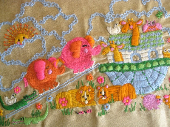 Noah's Ark vintage embroidery/ baby embroidered decor/finished embroidered wall hanging/1973