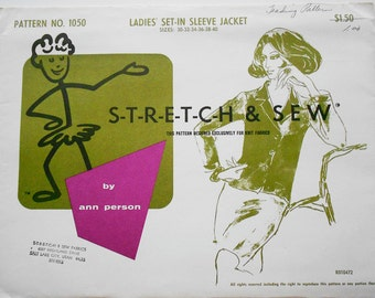 Stretch and Sew Sewing Pattern 1050 Ladies' Set in Sleeve Jacket