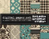 Black White Mint Teal Vintage Digital Papers for Blogging and Scrapbooking INSTANT DOWNLOAD