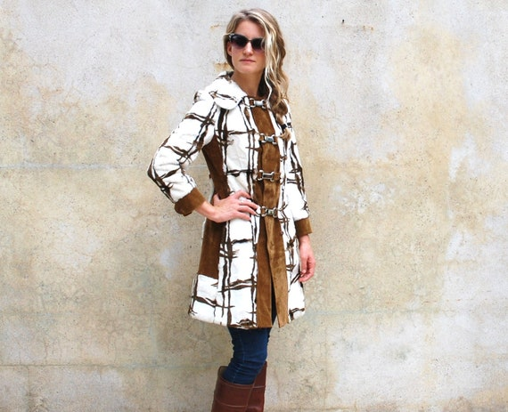 MOD vintage coat, circa 1960s -  retro graphic brown and white brown and white faux fur Neiman Marcus jacket - small