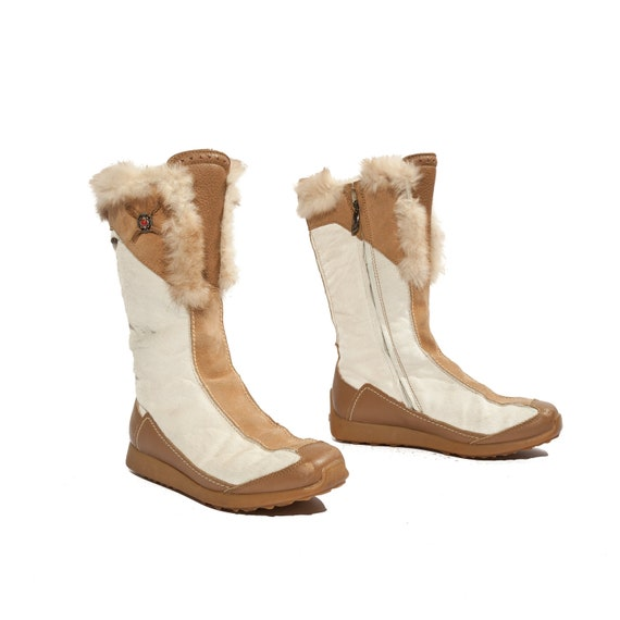 Winter Tecnica Fur Boots In White Pony Hair And Tan Leather