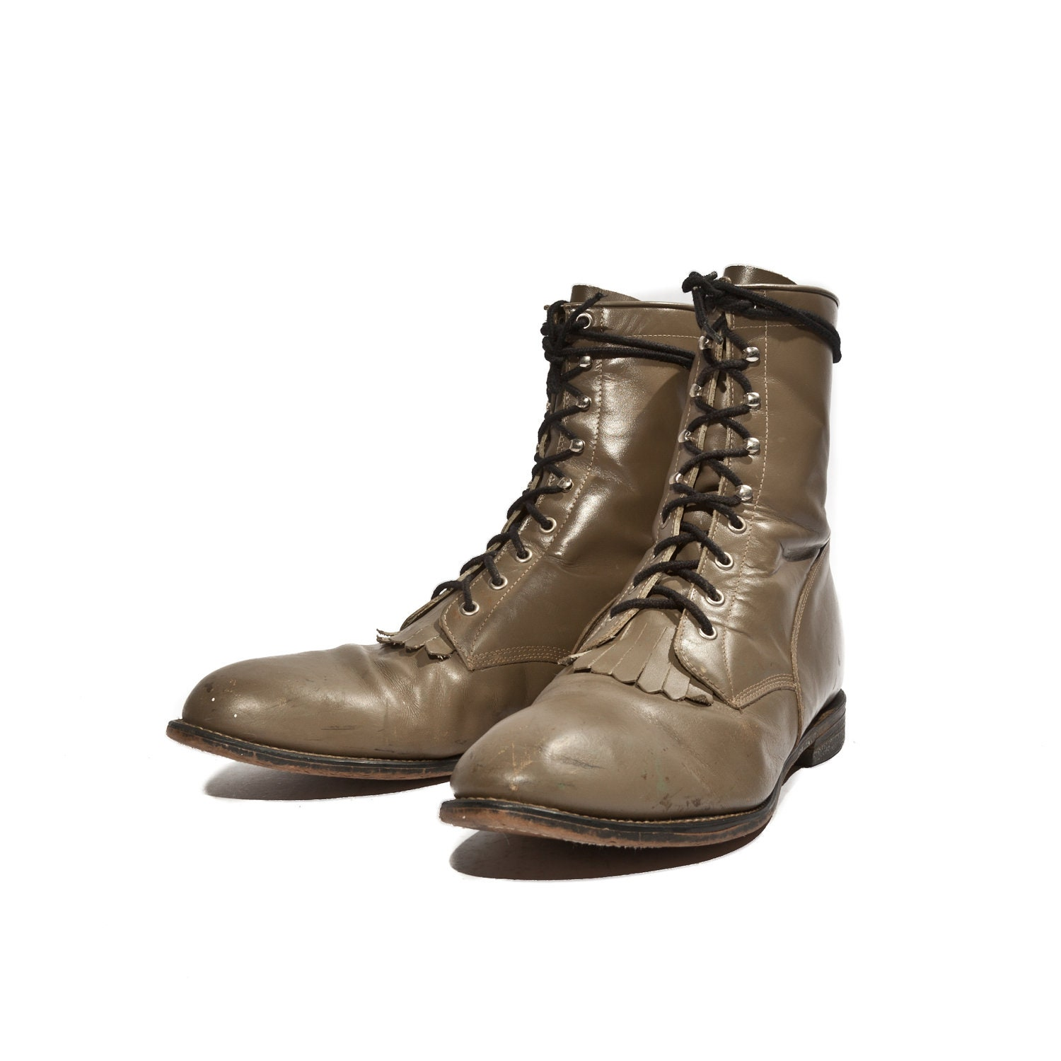 s brown olive justin roper lace up boots kiltie by shopndg
