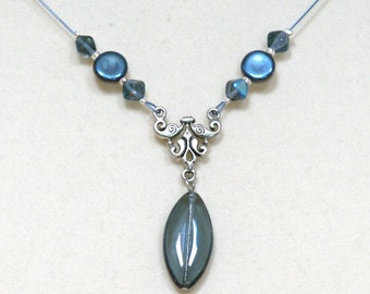 Czech Glass Montana Blue Marquise Dangle Necklace