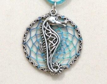 Dream Catcher Aqua Seahorse Antiqued Silver Dreamcatcher Necklace Variegated Celtic Knot