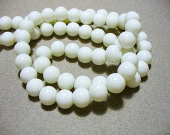 Glass  Beads White Round 8mm