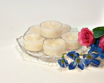 Tealight candles Rice Flower and Shea scent 6 pack light blue