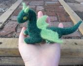 Miniature Needle Felt Dragon / Waldorf Inspired Fairy Tale Animal / Michaelmas Decoration / Soft Fantasy Sculpture Toy / Green Dragon Doll