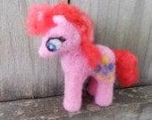 Pinkie Pie My Little Pony Toy / Needle Felted MLP FiM Plush / Fantasy Pony Figurine / Friendship is Magic Cartoon Character