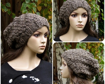 Knitted Oversized Swirl Beanie Slouchy Baggy Hat (Additional colors available)