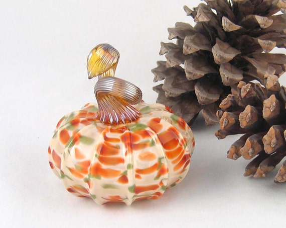 Hand blown Glass Pumpkin - Winter Meadow Autumn Decor Kitchen Art Harvest tagt