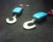 Southwest Style Lucky Horseshoe Turquoise & Red Coral Earrings