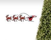 Santa and Reindeer Wall Decal