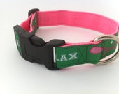 Preppy Lacrosse Dog Collar -- Green and Hot Pnk and LAX Letters
