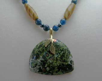 Tigerskin jasper, apatite, Swarovski crystal pearl and malachite with chrysocolla necklace: charity donation