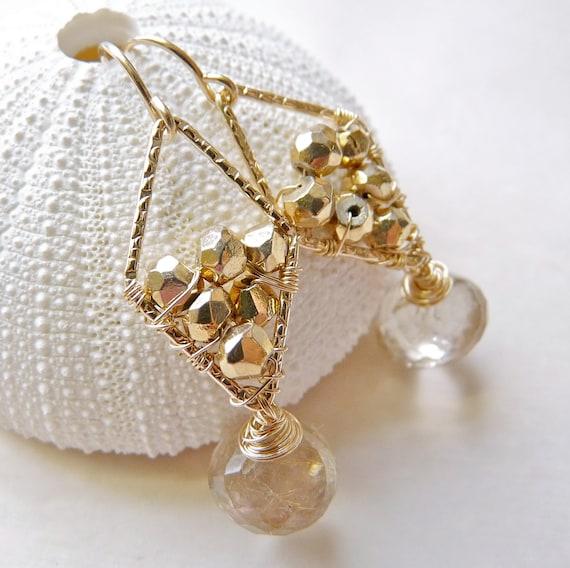 Golden rutilated quartz earrings gold pyrite by for Golden rutilated quartz jewelry