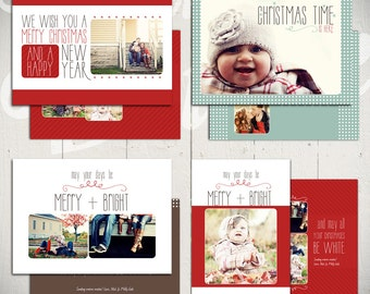 Christmas Card Templates: White Christmas - Set of Four 5x7 Holiday Card Templates for Photographers