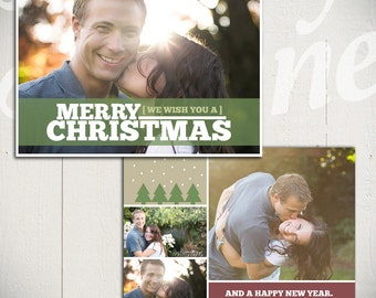 Christmas Card Template: Good Tidings A - 5x7 Holiday Card Template for Photographers