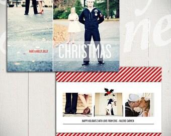 Holiday Card Template: Holly Jolly Christmas D - 5x7 Christmas Card Template