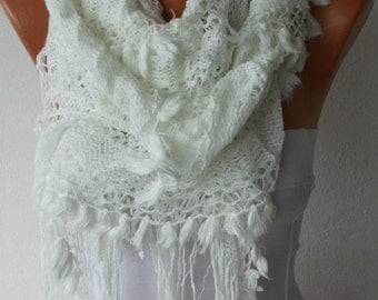 White Ruffle Lace Knitted Scarf Teacher Gift Shawl Scarf Cowl Scarf  Gift Ideas For Her Women Fashion Accessories