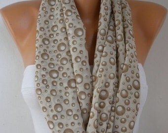 Milky Brown Bubble Infinity Scarf,Fall Scarf Easter Chiffon ,Circle Scarf Loop Scarf Gift Ideas For Her Women Fashion Accessories Scarves