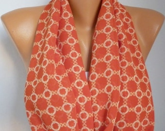 Burnt Orange Chain Chiffon Infinity Scarf,Circle Scarf Loop Scarf  Gift For Her Women Fashion Accessories -fatwoman
