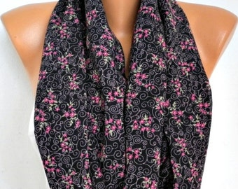 Floral Infinity Scarf Chiffon Circle Loop Scarf Gift Ideas For Her Women Fashion Accessories,women scarves