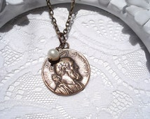 St. Joseph Medal Necklace - Freshwater Pearl  - Saint Necklace - Catholic  - Medal - Made in USA