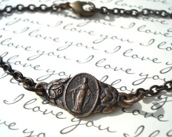 Mary Bracelet - Blessed Virgin Mary Bracelet - Miraculous Medal Bracelet - Vintaj Natural Brass -  Made in USA