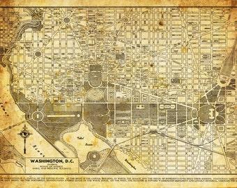 Washington DC Map - Street Map Vintage Sepia Grunge Print Poster