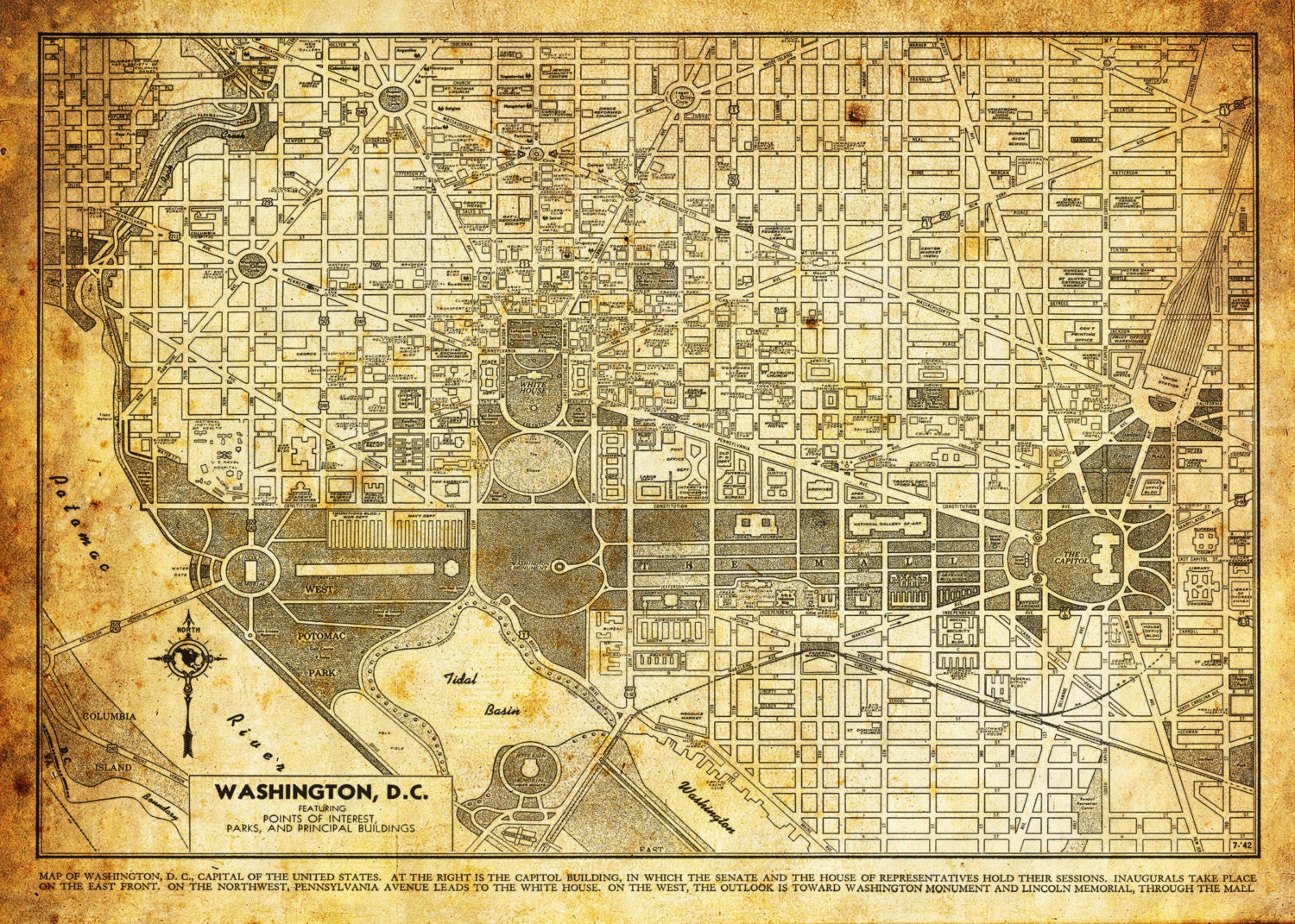 Washington DC Map Street Map Vintage Sepia Grunge Print - Washington dc capitol map