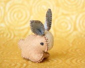 Beige felted bunny rabbit toy -- Birthday or baby shower present -- Handmade felt pure wool unique soft animal sculpture