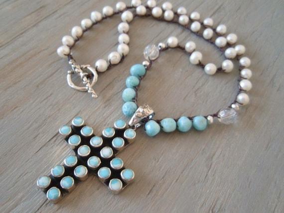 SALE 20% OFF Larimar Mexican Taxco cross crochet necklace 'Blue Heaven' sterling silver sky blue, freshwater pearls, luxe artisan boho, OOAK
