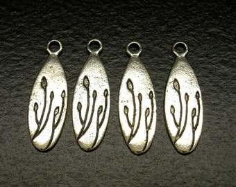 CHARM-AS-OVAL-24MM - Stamped Oval Charm in Antique Silver - 6 pcs