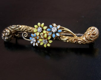 19th Century Victorian Diamonds, Enamel 14k Gold Brooch / Pin