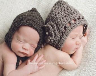 CROCHET HaT PATTERN: 'Sweet Cheeks', Crochet Bonnet, Photo Prop